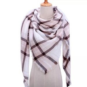 Accessories - NEW Fringe Blanket Scarf Shawl in Pale Pink Plaid
